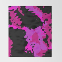 Fuchsia and black abstract Throw Blanket