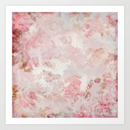 Vintage Floral Rose Roses painterly pattern in pink Art Print