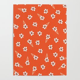 tiny white flowers on red Poster