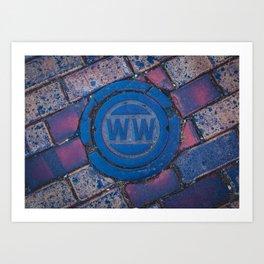 Water Main Caps Street Brick Art Print