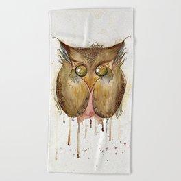 Vaguely Disturbing Owl Beach Towel