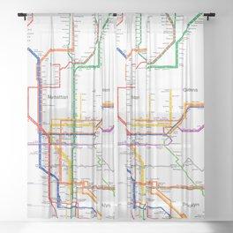 New York City subway map Sheer Curtain