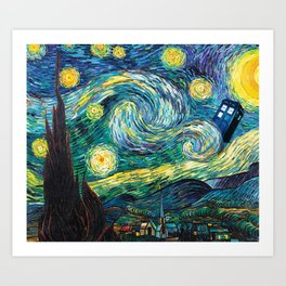 Tardis Starry Night Art Print