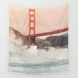 Golden Gate Bridge on a windy day Wall Tapestry