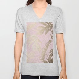 Simply Tropical Palm Leaves White Gold Sands on Flamingo Pink Unisex V-Neck