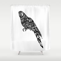 parrot Shower Curtains featuring Parrot  by Emma Barker