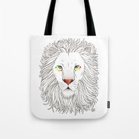 oana befort Tote Bags featuring LION by Oana Befort