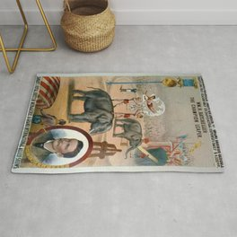 P.T. Barnum Vintage Circus Posters with Batcheller The Champion Leaper Rug
