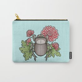 Beetle with Chrysanthemum - Blue Carry-All Pouch