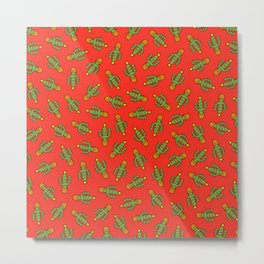 Cactus Christmas Tree in Red Metal Print
