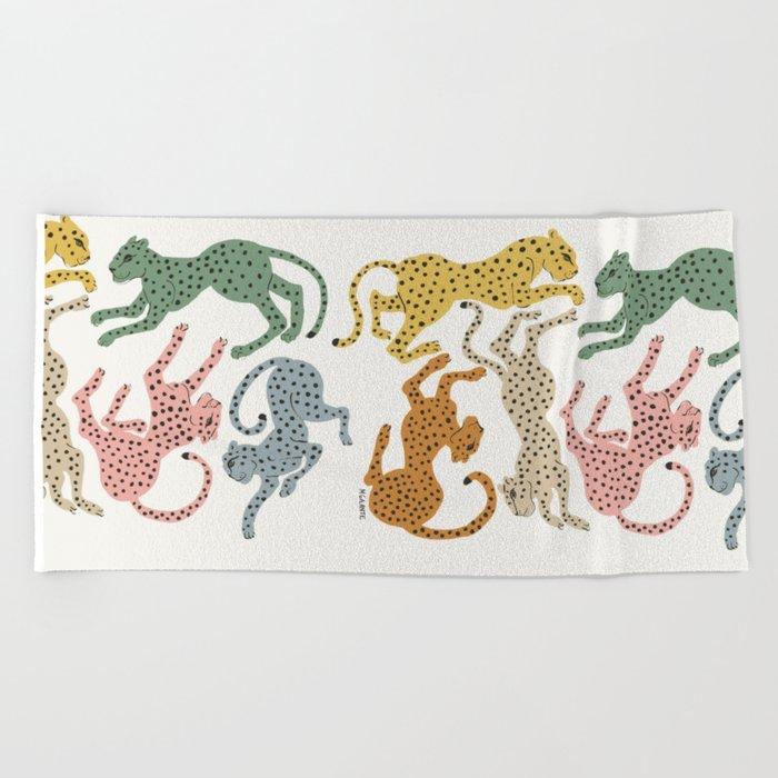 Rainbow Cheetah Beach Towel