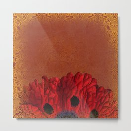 Poppies Deluxe:  Art Nouveau poppy bloom - red, blue, peach, gold damask - ornate Metal Print