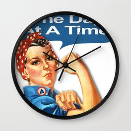 One Day At A Time AA NA Sober Sunrise Tee Tees T-Shirt Rosie The Riveter Wall Clock