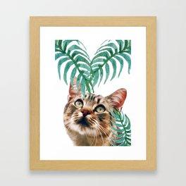 Leaf and cat Framed Art Print
