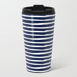 Navy Blue Stripes on White II Metal Travel Mug