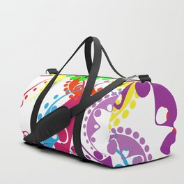 Texture of bright colorful gears and laurel wreaths in kaleidoscopic style. Duffle Bag