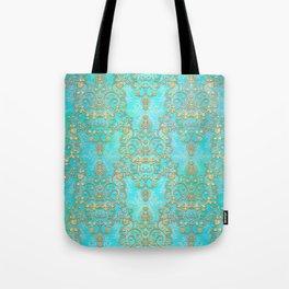 Teal Damask with Yellow Overlay Boho Tote Bag