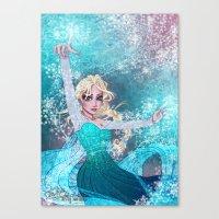 frozen elsa Canvas Prints featuring Frozen Elsa by Teo Hoble