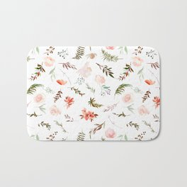 Coral pink green watercolor hand painted floral Bath Mat