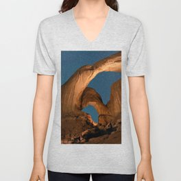 Double Arch In Arches National Park Unisex V-Neck