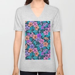 Modern abstract teal coral pink navy blue floral Unisex V-Neck