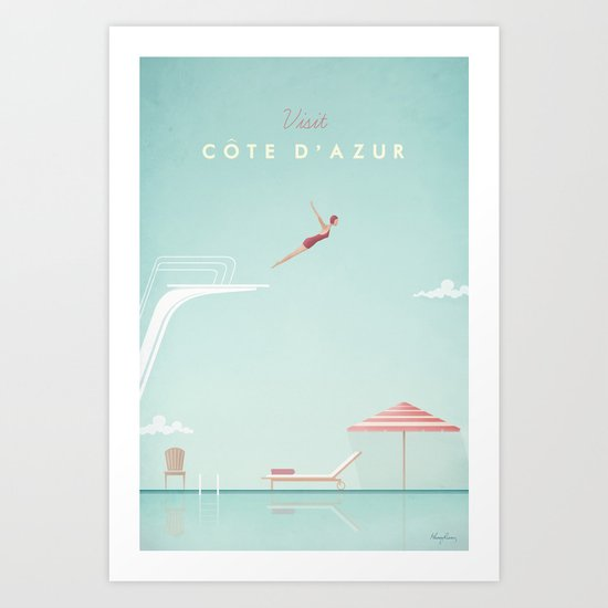 Vintage Côte d'Azur Travel Poster by wetcake