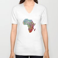 africa V-neck T-shirts featuring Africa by mthbt
