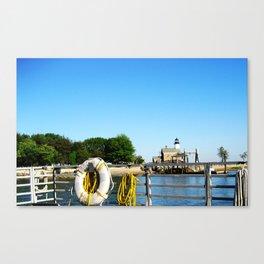 Sheffield Island Lighthouse, Norwalk, Connecticut, blue sky Canvas Print