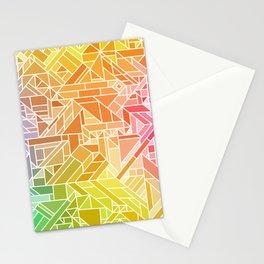 Bright Gradient (Hot Pink Orange Green Yellow Blue) Geometric Pattern Print Stationery Cards