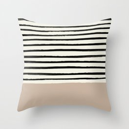 Latte & Stripes Throw Pillow