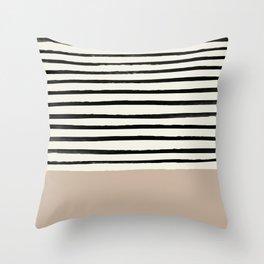 Latte & Stripes Throw Pillow