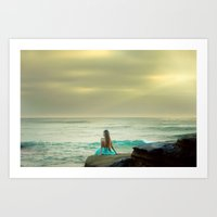 the little mermaid Art Prints featuring Little Mermaid by Kim Bajorek