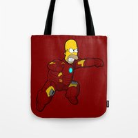 homer Tote Bags featuring IRON HOMER by Betmac