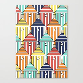 illustration beach cabins, graphic, design and colorful composition Canvas Print