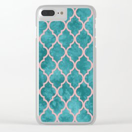 Classic Quatrefoil Lattice Pattern 910 Turquoise and Pink Clear iPhone Case