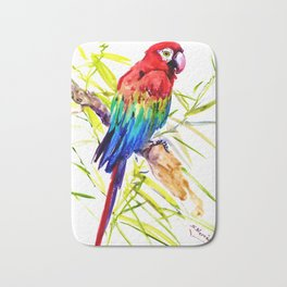 Parrot Scarlet Macaw, Tropical Birds, Jungle Red, Green Blue bright colored tropical artwork Bath Mat