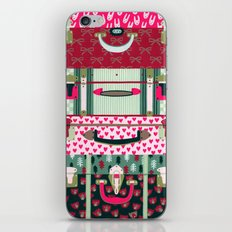 Pink patterned suitcases iPhone & iPod Skin