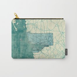 Rhode Island State Map Blue Vintage Carry-All Pouch