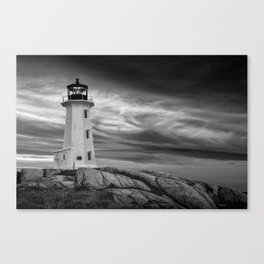 Black and White of Peggys Cove Lighthouse at Sunrise in Nova Scotia Canvas Print