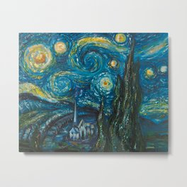Modern interpretation of Vincent Van Gogh's scene of The Starry Night. Metal Print