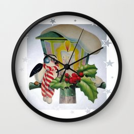 Winter Wonderland Bird Sitting On Vintage Street Lantern  Wall Clock