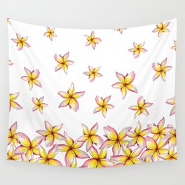 Lillies - Handpainted pattern - white background Wall Tapestry