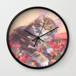 Kitten's Bed of Roses Wall Clock