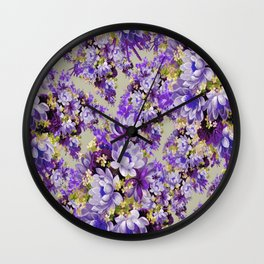 Purple And Gold Floral Wall Clock
