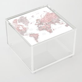 Dusty pink & grey watercolor world map cropped Acrylic Box