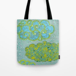 Rainclouds With Silver Waves Tote Bag