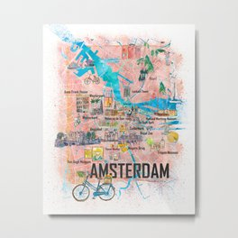 Amsterdam Netherlands Illustrated Map with Main Roads Landmarks and Highlights Metal Print