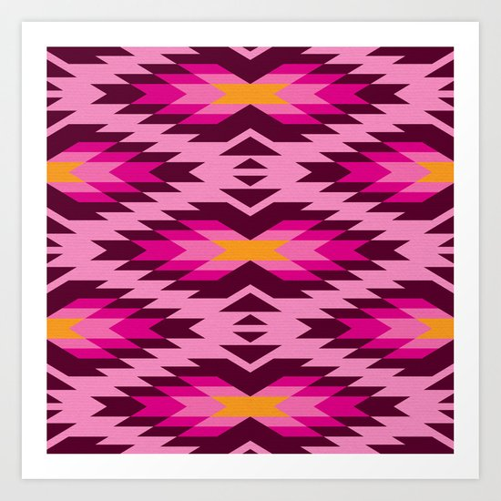 Tribal pattern - pink Art Print