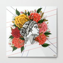 Floral Greek Goddess Metal Print