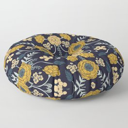 Navy Blue, Turquoise, Cream & Mustard Yellow Dark Floral Pattern Floor Pillow